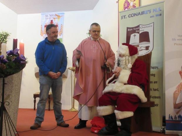 Santa surprises pupils at school Mass